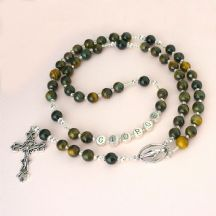 Tigers Eye Rosary Beads with Name